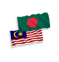 Flags bangladesh and malaysia on a white vector