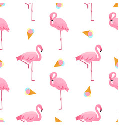 Flamingo and ice-cream summer tropical seamless vector