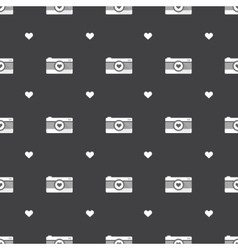 flat hipster black and white cameras seamless vector image