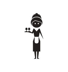 Flat icon in black and white waitress vector