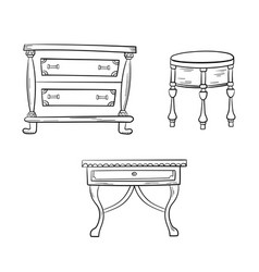 Furniture set - antique bureau tables isolated on vector