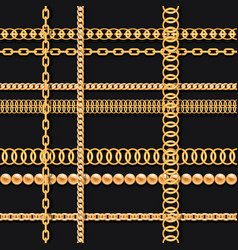 gold chains and beads on black luxury seamless vector image