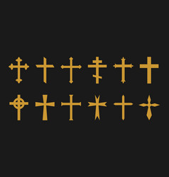 Gold cross christian catholic greek crosses icons vector