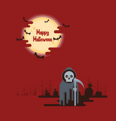 Halloween grim reaper standing under the moon vector