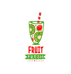 Hand drawn logo with glass of fresh fruit vector