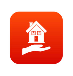 hand holding house icon digital red vector image