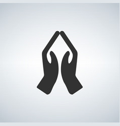 Hands praying icon vector