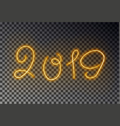 happy 2019 new year light line with dust glowing vector image