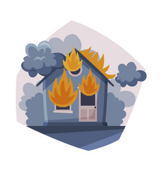 House on fire burning building with smoke air vector