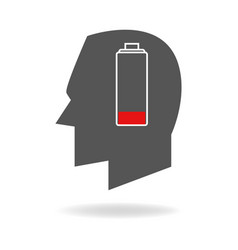 Human head with empty battery indicator vector