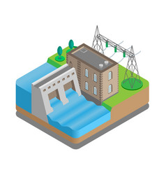 hydroelectric power station with power lines vector image