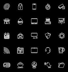 Internet cafe line icons on black background vector image