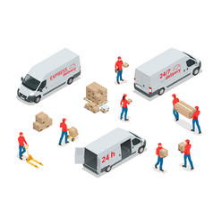 isometric icons delivery cars and deliveryman vector image