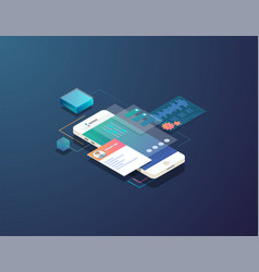 isometric mobile development vector image