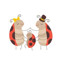 ladybug family cheerful mother father ladybugs vector image