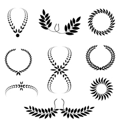 Laurel wreath tattoo set black ornaments nine vector