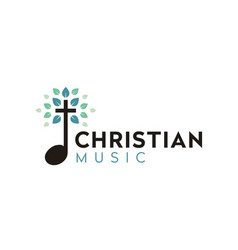 Leaf christ cross gospel music song church logo vector