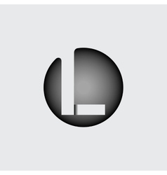 Letter l made of wide white stripes vector