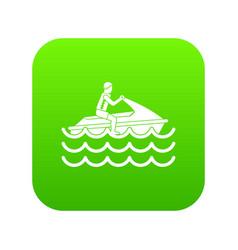 man on jet ski rides icon digital green vector image