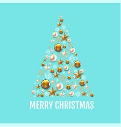 merry christmas card with golden christmas toys vector image