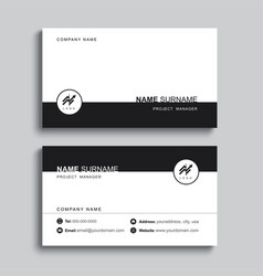 minimal business card print template design black vector image