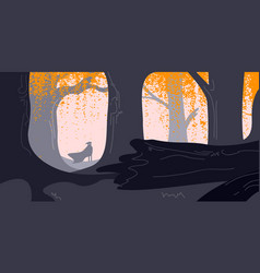 Mysterious figure with cape in dark forest vector