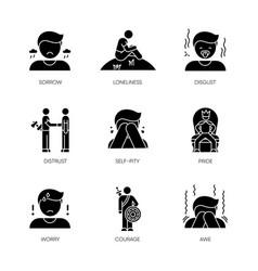 Negative feelings black glyph icons set on white vector