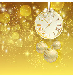 New year background with golden clock vector