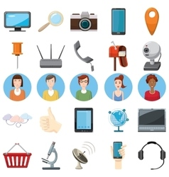 Office equipment icons set cartoon style vector image