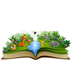 Open book with animal cartoon playing on the river vector