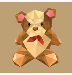 origami teddy bear with red bow vector image