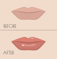 permanent makeup of lips before and after the vector image