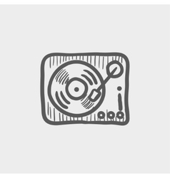 Phonograph turntable sketch icon vector image