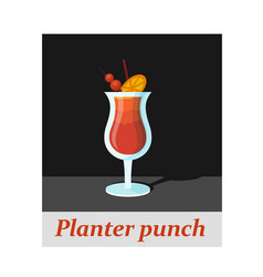 Planter punch cocktail menu item or any kind of vector