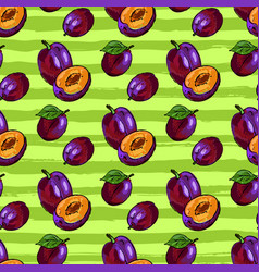 Plum fruit seamless pattern hand-drawn plum on an vector