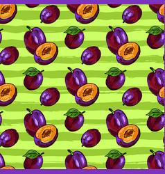 Plum fruit seamless pattern hand-drawn vector