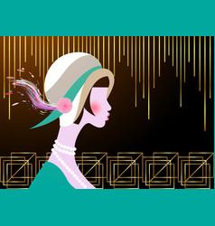 Portrait flapper girl with hat retro art deco vector