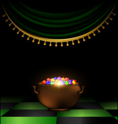 Pot of gems in the dark vector