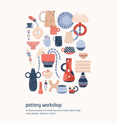 Pottery workshop advertising poster vector