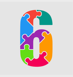 puzzle jigsaw figure or number six vector image
