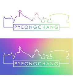 pyeongchang skyline colorful linear style vector image