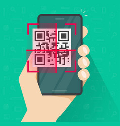 qr code scanning on mobile phone or smartphone vector image