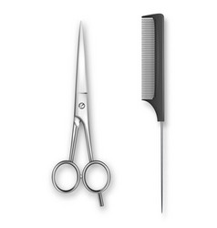 realistic 3d classic simple scissors and vector image