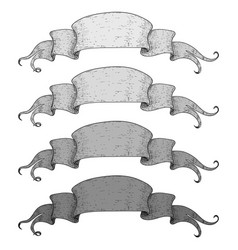 ribbon banners gray set of scrolls hand drawn vector image