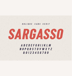 sargasso oblique san serif font alphabet vector image
