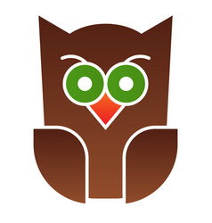 Scary owl flat icon forest night bird halloween vector