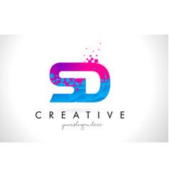 Sd s d letter logo with shattered broken blue vector