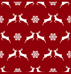 seamless pattern christmas reindeer and vector image