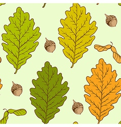 seamless pattern with autumn oak leaves vector image