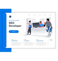 seo developer isometric landing page vector image